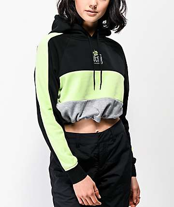 By Samii Ryan Kanji Blossom Colorblock Black & Green Crop Hoodie