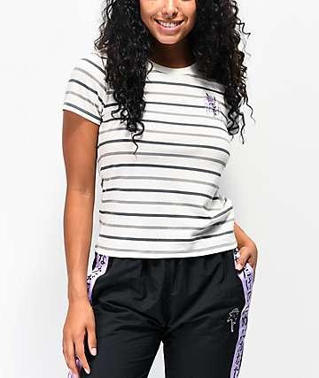 By Samii Ryan Kanji Blossom Grey Stripe T-Shirt