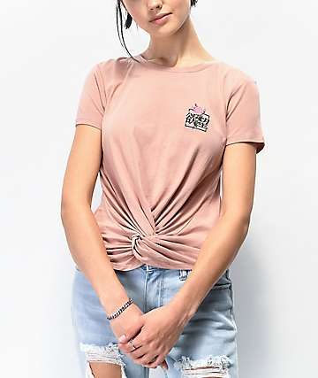 By Samii Ryan Kanji Blossom Pink Tie Front T-Shirt