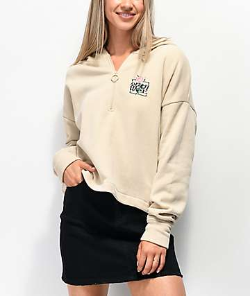 By Samii Ryan Kanji Blossom Tan Quarter Zip Crop Hoodie