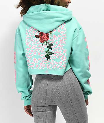 By Samii Ryan Let Me Go Leopard Mint Crop Hoodie
