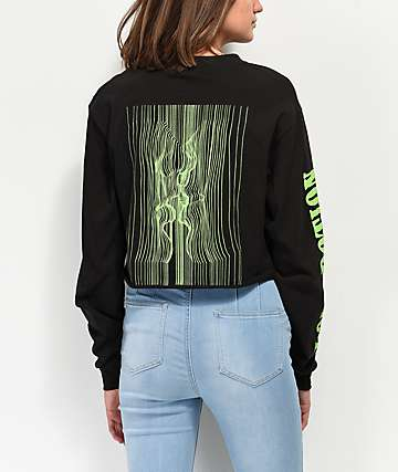 By Samii Ryan Love Potion Black & Neon Green Long Sleeve Crop T-Shirt