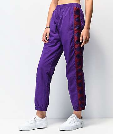 By Samii Ryan Romance Purple Crinkle Track Pants
