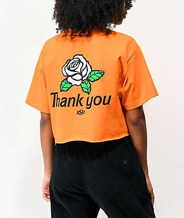 By Samii Ryan Thank You Orange Crop T-Shirt