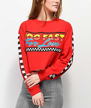 By Samii Ryan Too Fast For Love Red Crop Long Sleeve T-Shirt