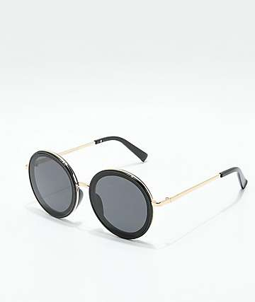 Capricorn Round Black & Gold Oversized Sunglasses