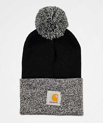 Carhartt Lookout Black & White Pom Beanie