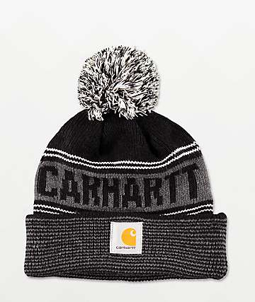 Carhartt Searchlight Black & Grey Pom Beanie