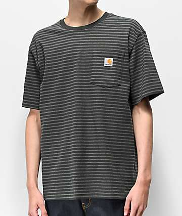 Carhartt Workwear Green & Grey Striped Pocket T-Shirt