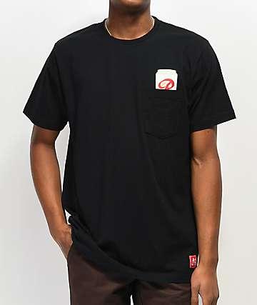 Casual Industrees x Rainier Gold Top camiseta negra con bolsillo