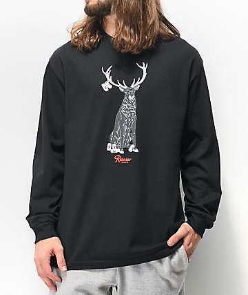 Casual Industrees x Rainier Rainier Deer camiseta negra de manga larga