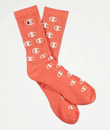 Champion All Over C Groovy Papaya Crew Socks