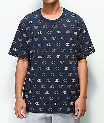 Champion All Over Logo Navy & Orange T-Shirt