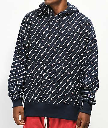 Champion All Over Print Navy Hoodie