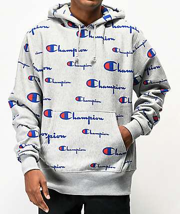 Champion All Over Print Oxford sudadera con capucha de tejido inverso gris