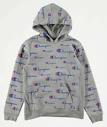 Champion All Over Print sudadera con capucha gris para niños