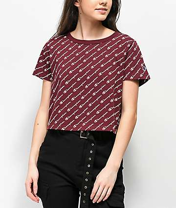 Champion All Over Script Burgundy Crop T-Shirt