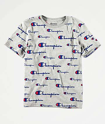 Champion All Over Script camiseta gris para niños
