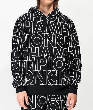 Champion Allover Block Text sudadera con capucha de tejido inverso negro