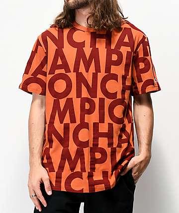 Champion Allover Print Block Text Orange T-Shirt