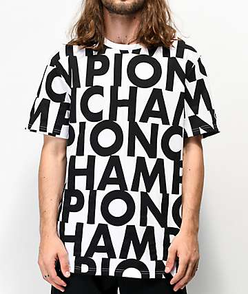 Champion Allover Print Block Text camiseta blanca