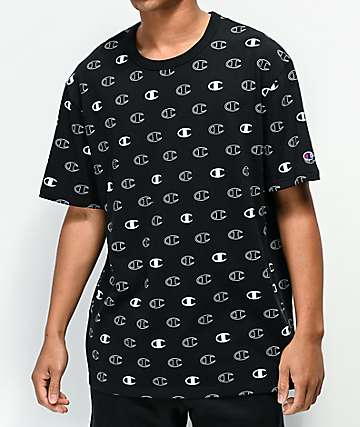 Champion Allover Print C Logo camiseta negra
