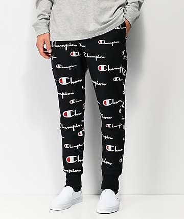Champion Allover Script jogger pantalones deportivos de tejido inverso negro