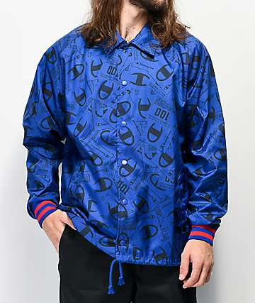 Champion Allover Tag Print Blue Satin Coaches Jacket