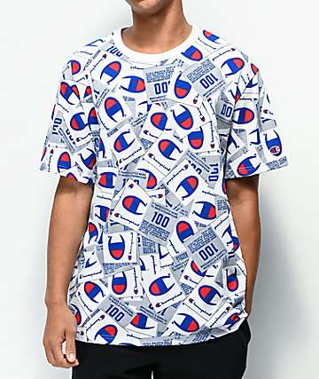 Champion Allover Tag Print White Knit T-Shirt