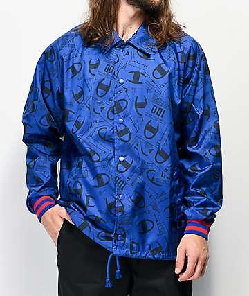 Champion Allover Tag Print chaqueta entrenador de satén azul