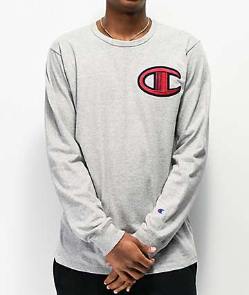 Champion Big C Floss Stitch Grey Long Sleeve T-Shirt