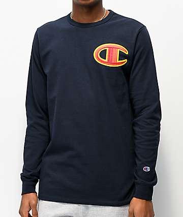 Champion Big C Floss Stitch Navy Long Sleeve T-Shirt