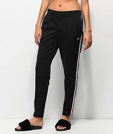 Champion Black & Striped Track Pants