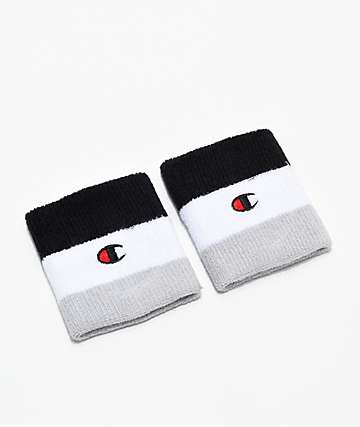 Champion Black & White Stripe Wristbands