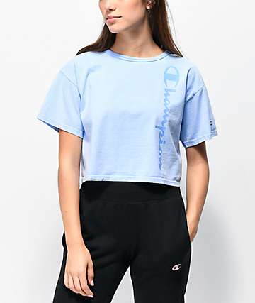 Champion Blue Pigment Dyed Crop T-Shirt