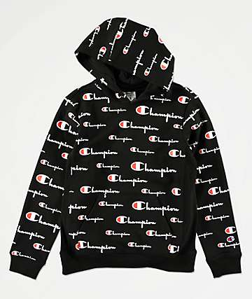Champion Boys All Over Print Black Hoodie