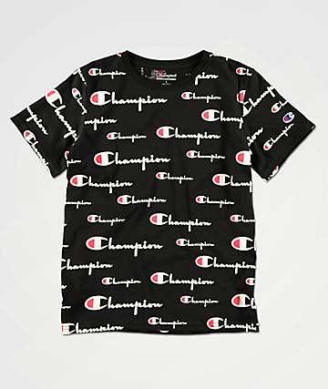 Champion Boys All Over Script Black T-Shirt