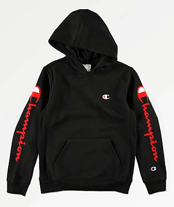 Champion Boys Flock Black Hoodie
