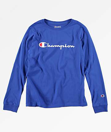 Champion Boys Heritage Surf Blue Long Sleeve T-Shirt