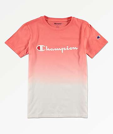Champion Boys Logo Dip Dyed Groovy Papaya T-Shirt