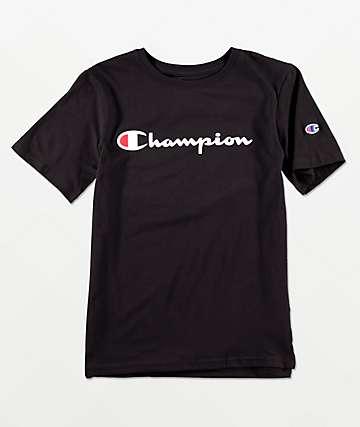 Champion Boys Logo Script Black T-Shirt