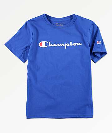 Champion Boys Logo Script Surf Blue T-Shirt