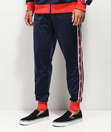 Champion C Logo pantalones de chándal azules y rojos