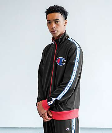 Champion Chain Stitch C Logo Black Track Jacket