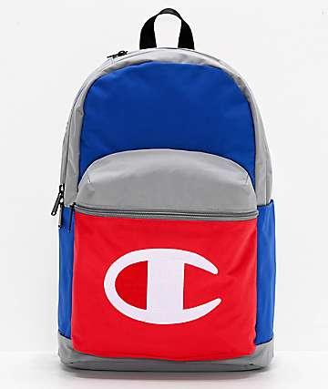 Champion Color Block mochila gris, azul y roja