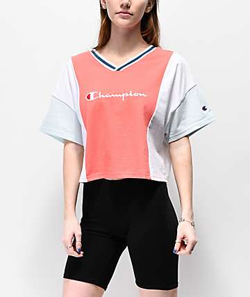 Champion Colorblock Papaya, Blue & White Crop T-Shirt