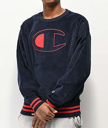 Champion Corduroy Navy Crew Neck Sweatshirt