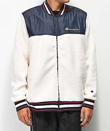 Champion Cream Sherpa Baseball Jacket