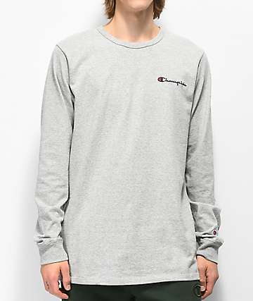 Champion Elevated Oxford Grey Long Sleeve T-Shirt