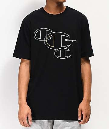 Champion Embroidered C Outline camiseta negra